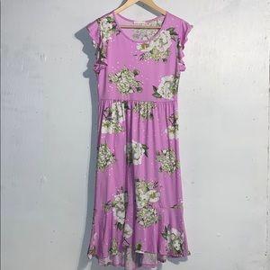 Reborn J Ruffled Floral/Polka Dot MIDI-Dress